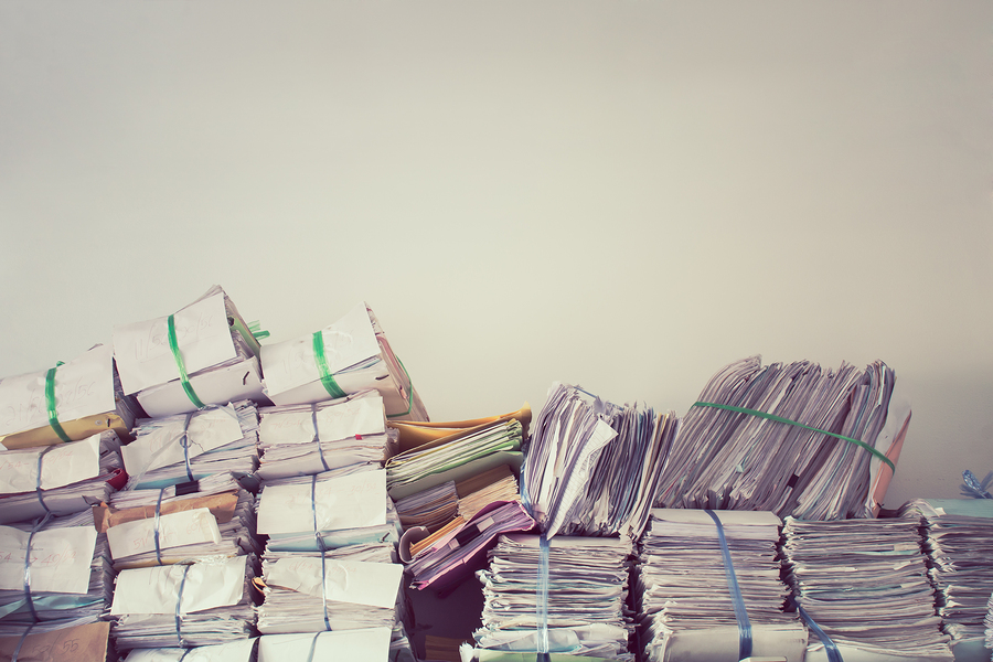 Business documents piled up